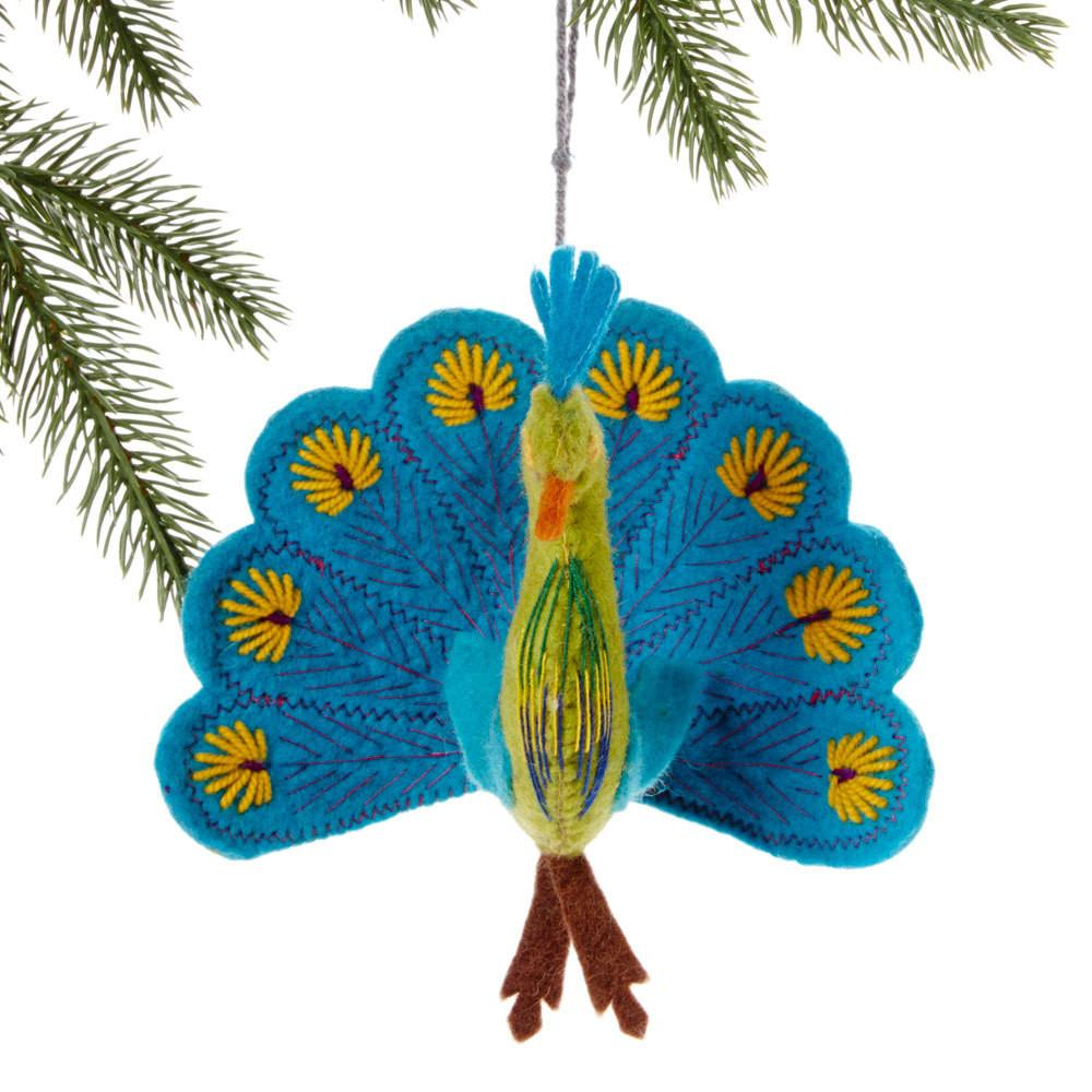 Global Crafts - Turquoise Peacock Felt Holiday Ornament - Silk Road Bazaar (O)