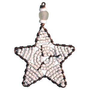 Global Crafts - Beaded Star Ornament White - Global Mamas (H)