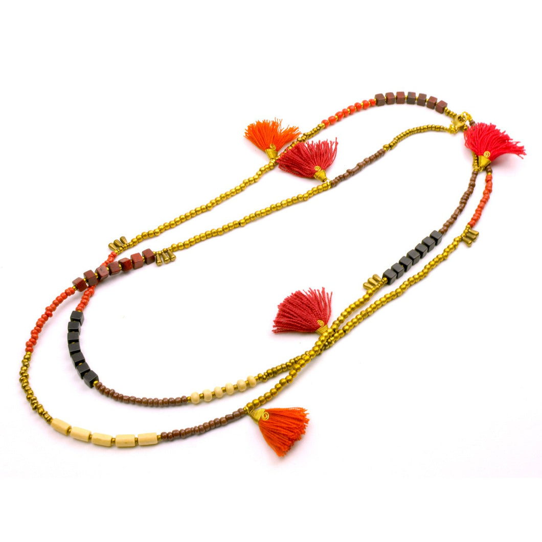 Global Crafts - Kerala 3-in-1 Necklace Desert Sun - Global Groove (J)