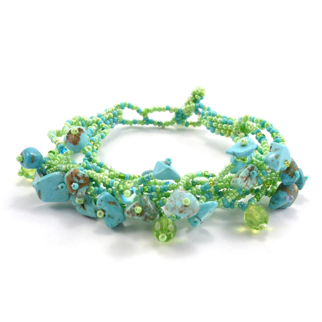 Global Crafts - Chunky Stone Bracelet - Greens - Lucias Imports (J)
