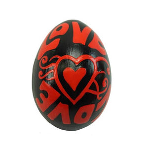 Global Crafts - Mahogany Wood Egg Shaker - Love Design - Jamtown World Instruments