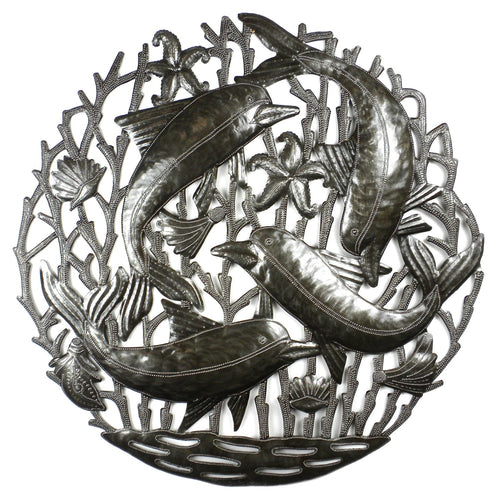 Global Crafts - Pod of Dolphins Metal Wall Art - Croix des Bouquets
