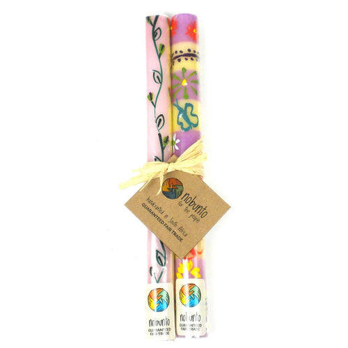 Global Crafts - Tall Hand Painted Candles - Pair -Imbali Design - Nobunto