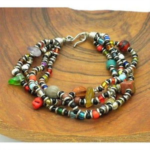 Beaded Multicolored 4 Strand Bracelet Handmade and Fair Trade