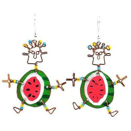 Dancing Girl Round Melon Earrings Handmade and Fair Trade