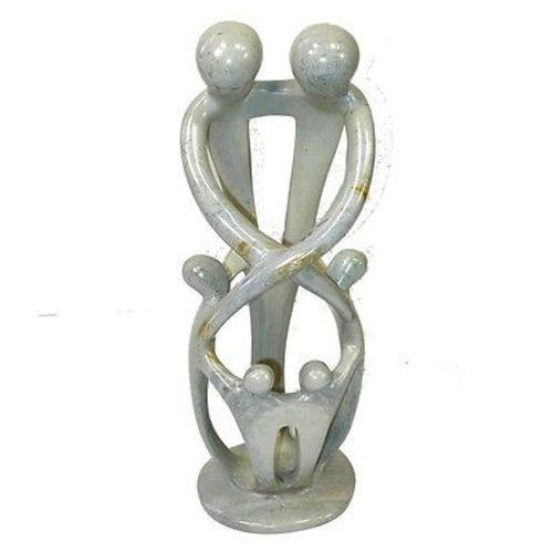 Natural 10-inch Tall Soapstone Family Sculpture - 2 Parents 4 Children Handmade and Fair Trade