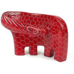 Handcrafted Large Giraffe Soapstone Sculpture in Red Handmade and Fair Trade