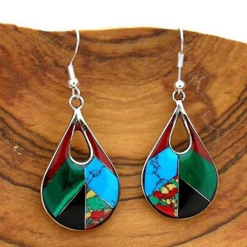 Open Alpaca Silver Teardrop Diagonal Mosaic Stone Earrings Handmade and Fair Trade