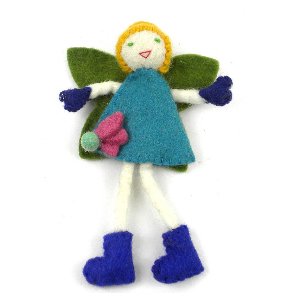 Global Crafts - Felt Tooth Fairy, Blond with Blue Dress - Global Groove