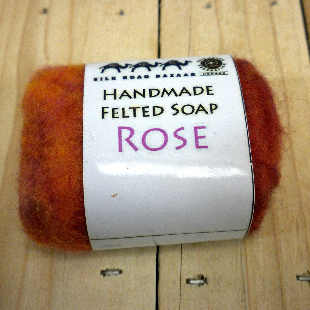 Global Crafts - Handmade Felted Soap Rose - Silk Road Bazaar (S)