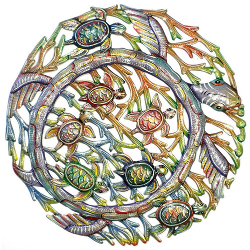 Global Crafts - Sea Turtle Metal Wall Art - Croix des Bouquets