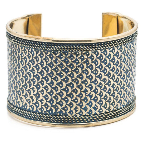 Global Crafts - Art Deco Scallop Cuff - Blue - Matr Boomie (Jewelry)