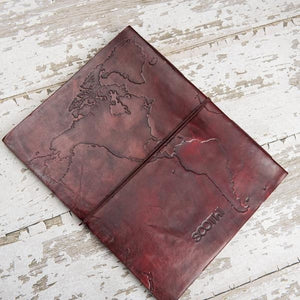World Map Oversized Large Handmade Leather Journal