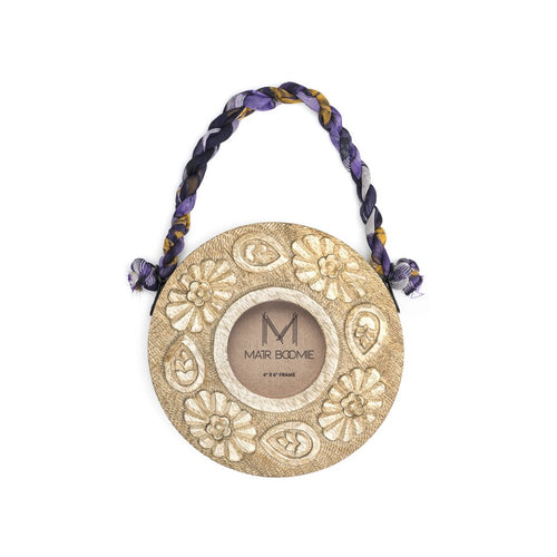 Global Crafts - Sari Mango Hanging Frame - Round - Matr Boomie (P)