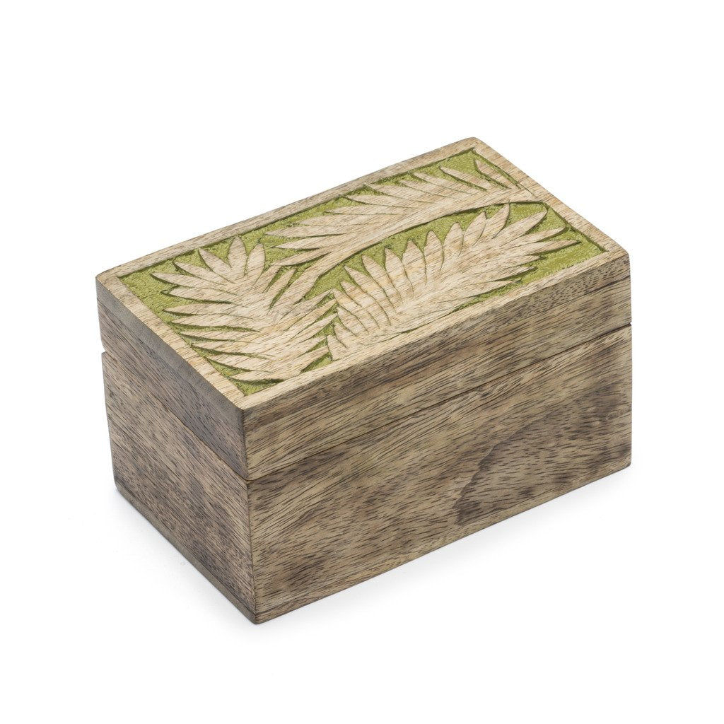 Global Crafts - Holi Color Rub Wood Keepsake Box - Palm Leaf - Matr Boomie (B)