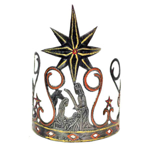 "Global Crafts - Hand-painted Tabletop Nativity Scene with Curve Shape (5"" x 8"") - Croix des Bouquets"