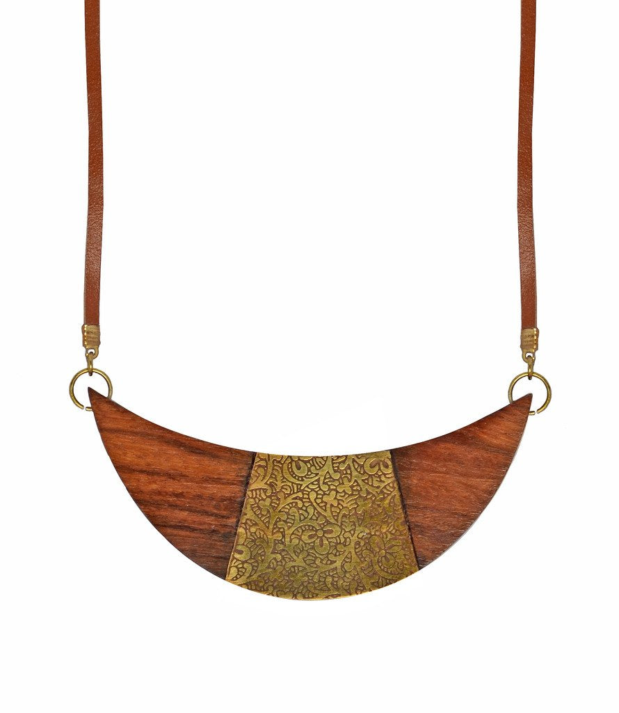 Global Crafts - Earth and Fire Crescent Necklace - Matr Boomie (Jewelry)