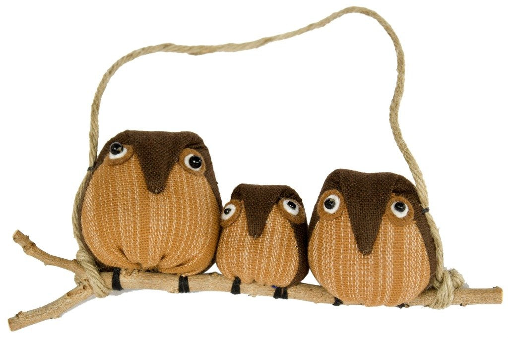 Global Crafts - Owl Ornament: Family of 3 - Marquet (O)