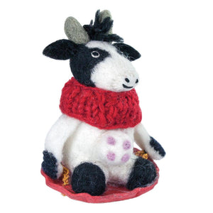 Global Crafts - Bessie the Cow Felt Holiday Ornament - Wild Woolies (H)
