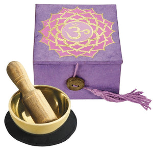 "Global Crafts - Mini Meditation Bowl Box: 2"" Crown Chakra - DZI (Meditation)"
