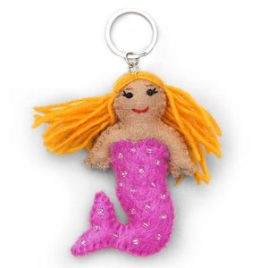 Global Crafts - Pink Felt Mermaid Key Chain - Global Groove (A)