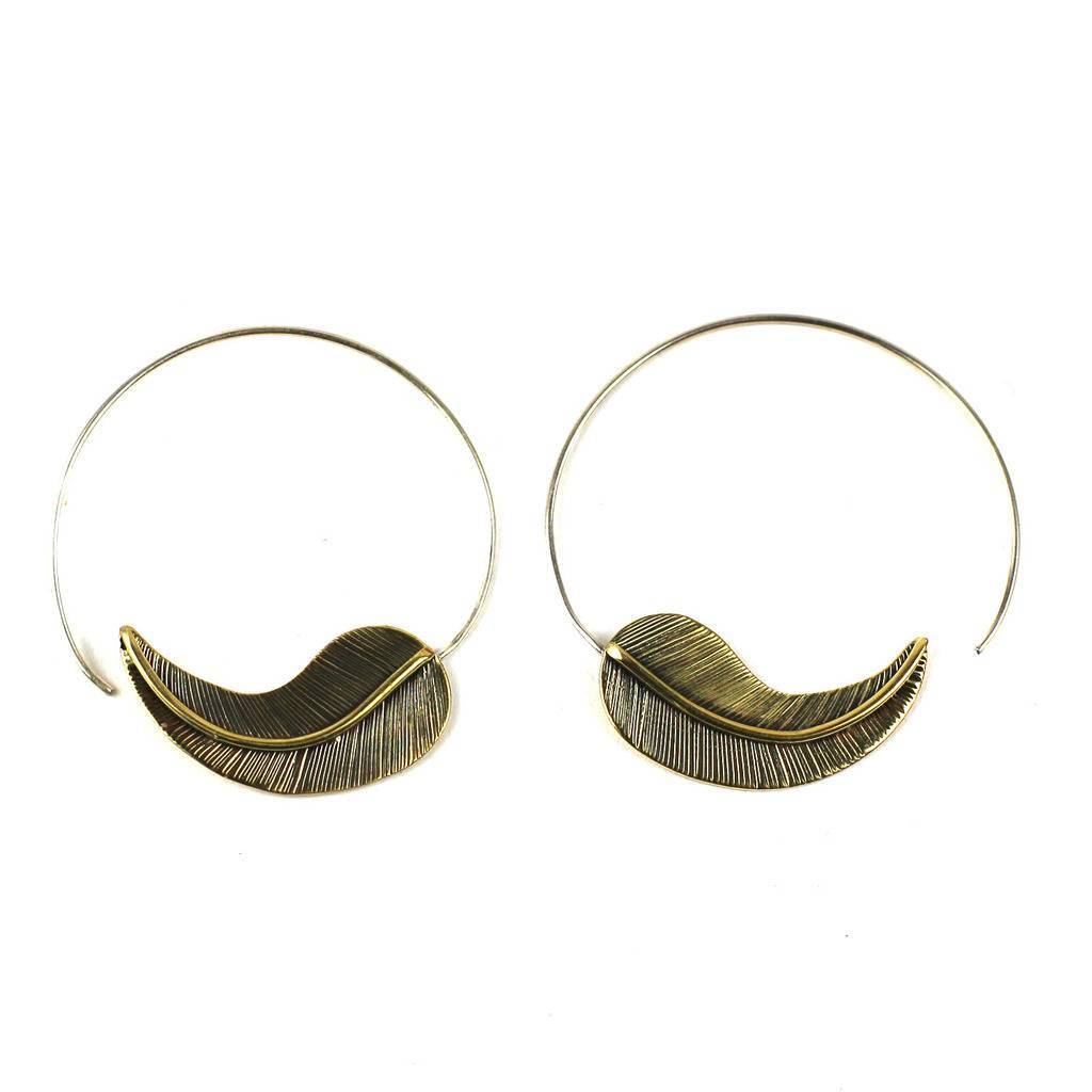 Global Crafts - Brass Leaf Design Spiral Earrings - DZI (J)