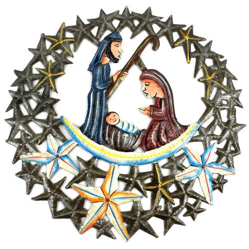 Global Crafts - 11 inch Nativity in the Stars Metal Wall Art - Croix des Bouquets