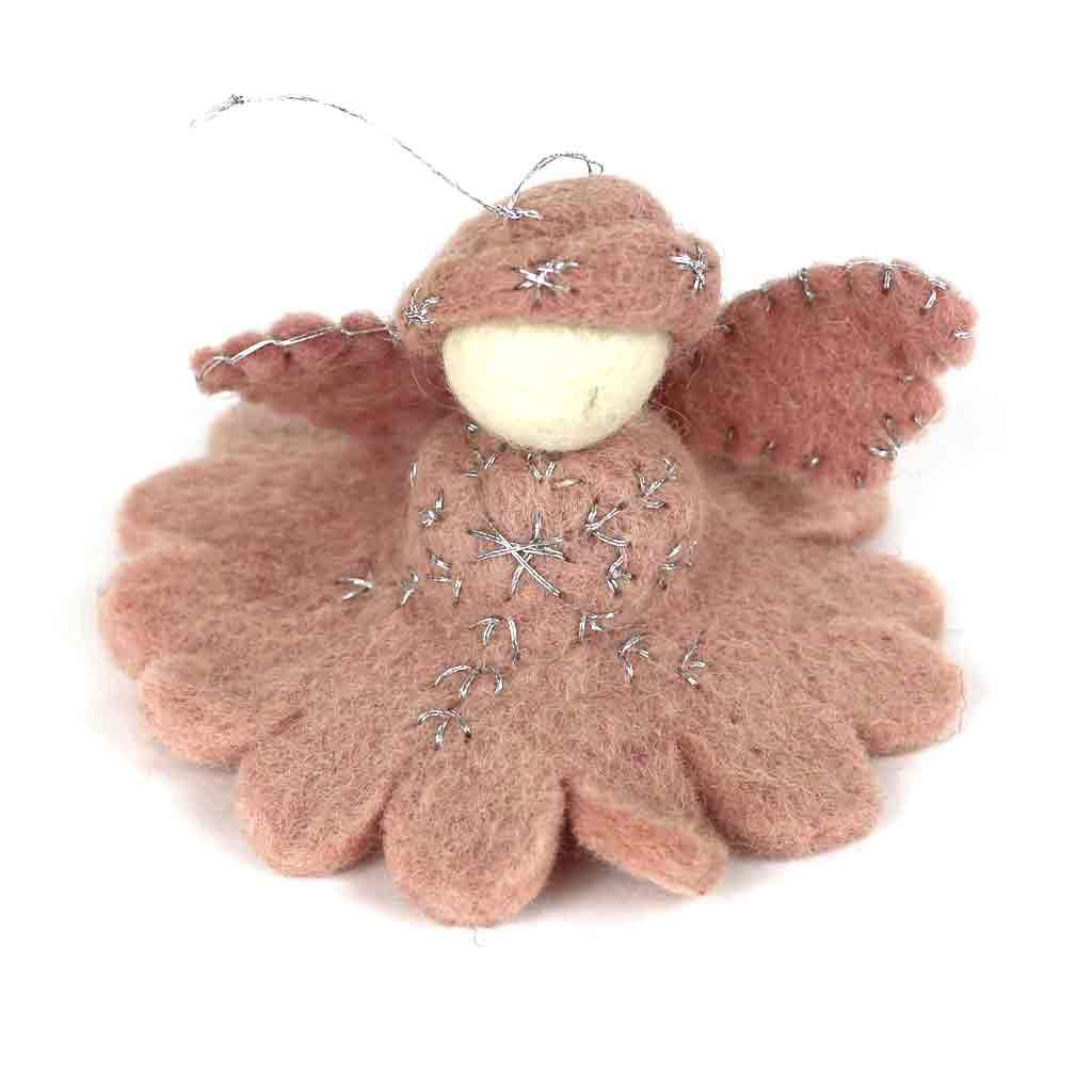 Global Crafts - Pink Angel Felt Ornament - Global Groove (H)
