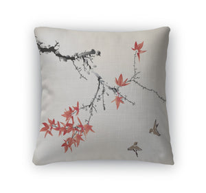 Throw Pillow, Ink Style Maple Leaves