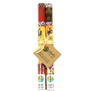 Global Crafts - Tall Hand Painted Candles - Pair - Damisi Design - Nobunto