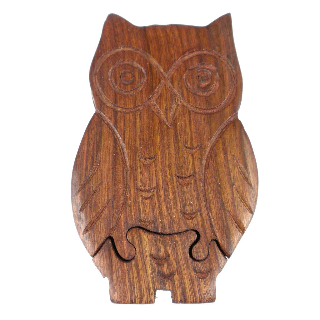 Global Crafts - Owl Puzzle Box - Matr Boomie