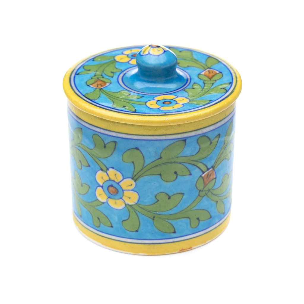 Global Crafts - Blue Pottery Canister - Turquoise - Matr Boomie (Pottery)