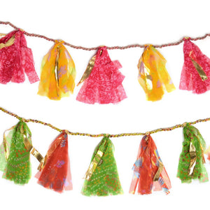 Global Crafts - Upcycled Sari 8-foot Party Tassel Garland - Matr Boomie (H)