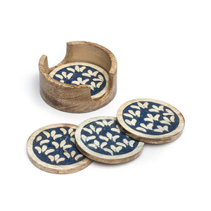 Global Crafts - Holi Color Rub Coasters - Botanical -Set of 4 - Matr Boomie