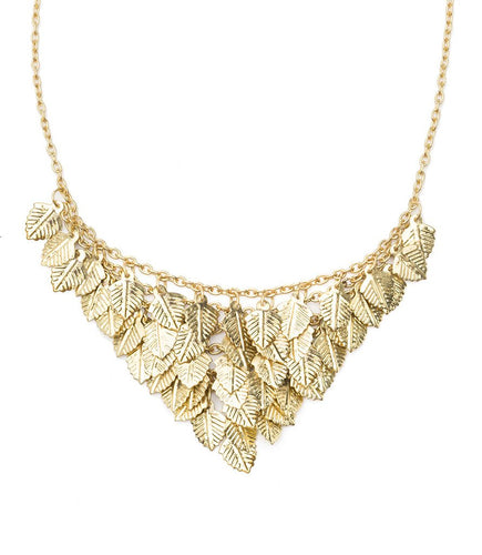 Global Crafts - Falling Leaves Necklace - Gold - Matr Boomie (Jewelry)