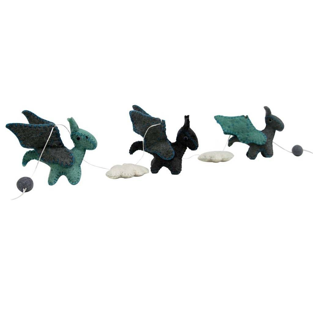 Global Crafts - Felt Dragon Garland - Blue Colors - Global Groove