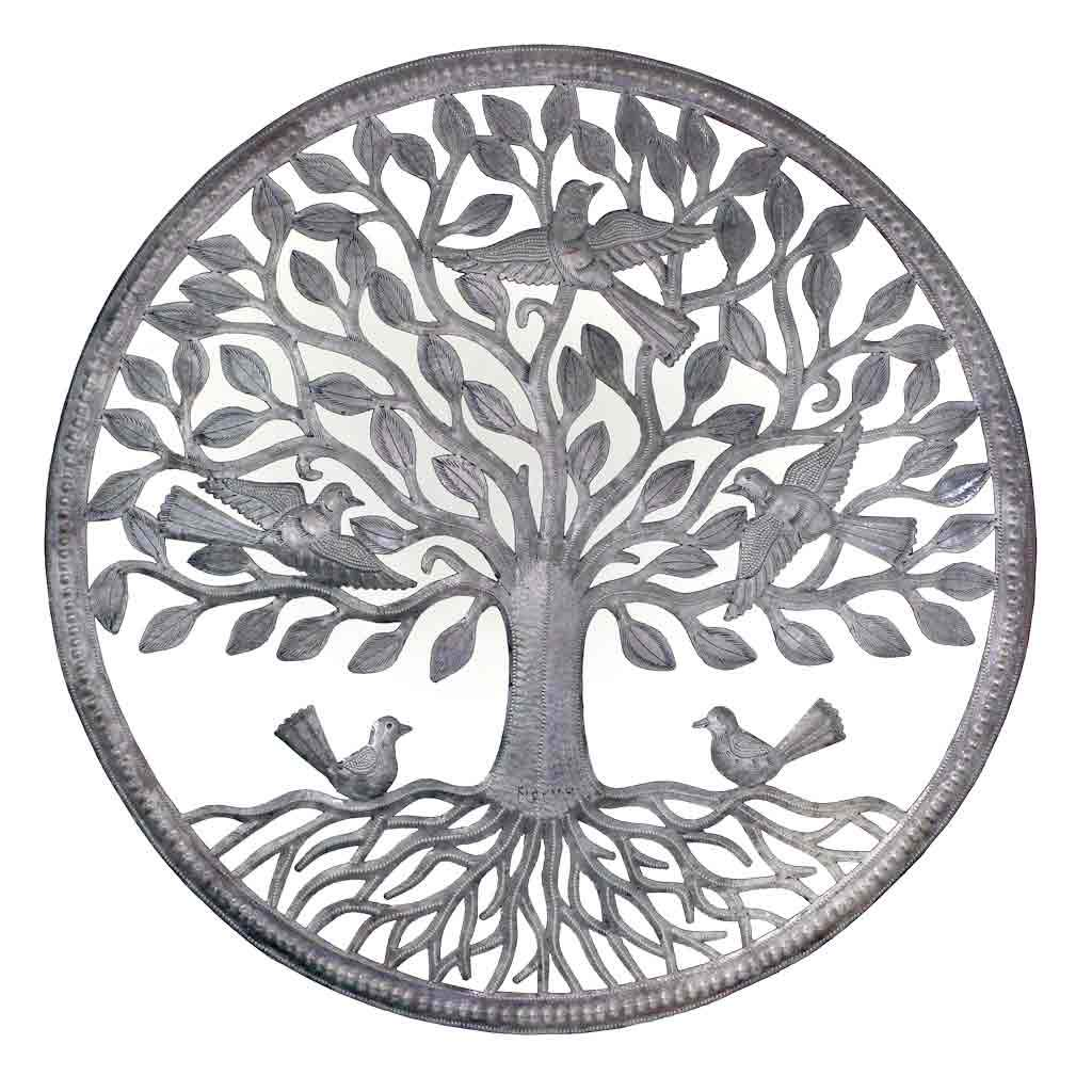 Global Crafts - Birds on Roots Tree of Life Wall Art - Croix des Bouquets