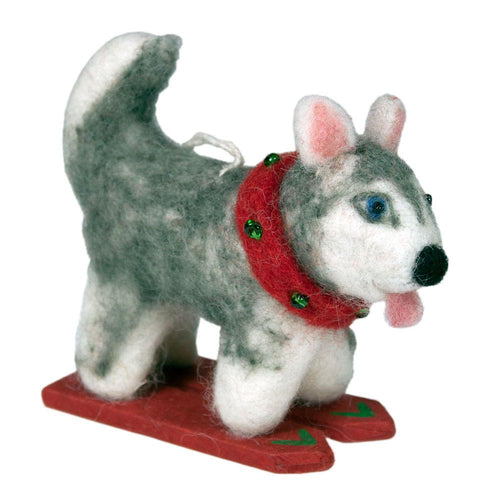 Global Crafts - Felt Ornament Skiing Husky - Wild Woolies (H)