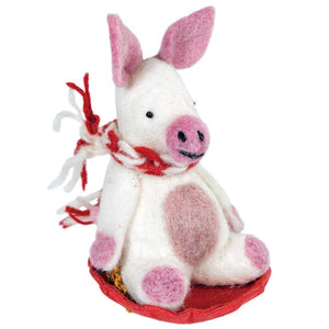 Global Crafts - Piggles the Pig Felt Ornament - Wild Woolies (H)