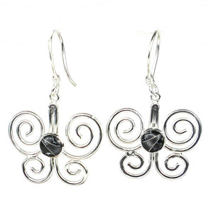 Global Crafts - Silver Butterfly Earring with Black Mosaic Accent - Artisana