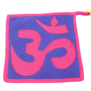 Global Crafts - Om Hot pad in Pink and Purple - Jeevankala (T)