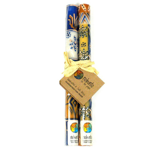 Global Crafts - Tall Hand Painted Candles - Pair - Durra Design - Nobunto