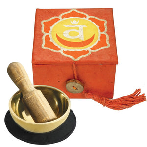 "Global Crafts - Mini Meditation Bowl Box: 2"" Sacral Chakra - DZI (Meditation)"