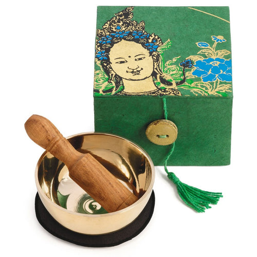 Global Crafts - Meditation Bowl Box: 3'' Green Tara - DZI (Meditation)