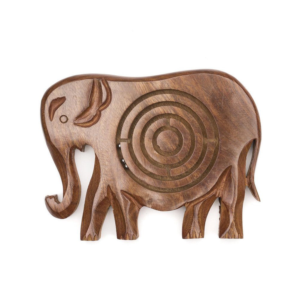 Global Crafts - Wooden Labyrinth - Elephant - Matr Boomie