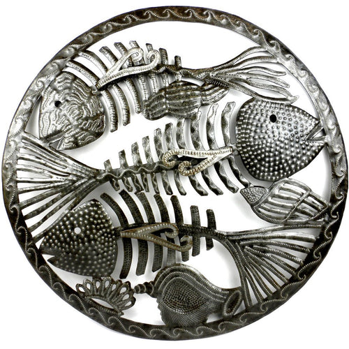 Global Crafts - Round Fish Bones Metal Wall Art - Croix des Bouquets