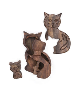 Global Crafts - Mama Cat Puzzle Box - Matr Boomie