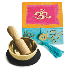 "Global Crafts - Mini Meditation Bowl Box: 2"" Om - DZI (Meditation)"