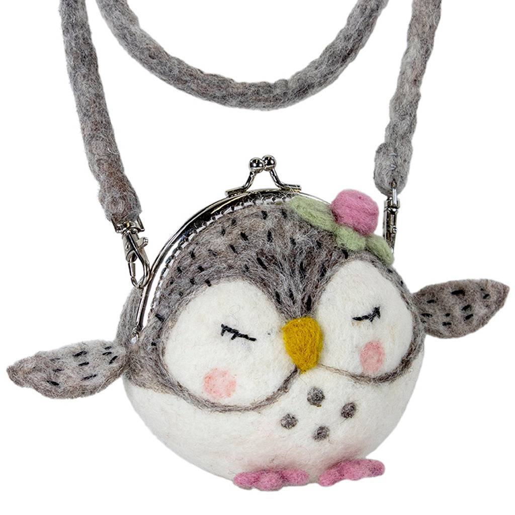 Global Crafts - Felt Critter Purse: Olivia Owl - Wild Woolies (P)