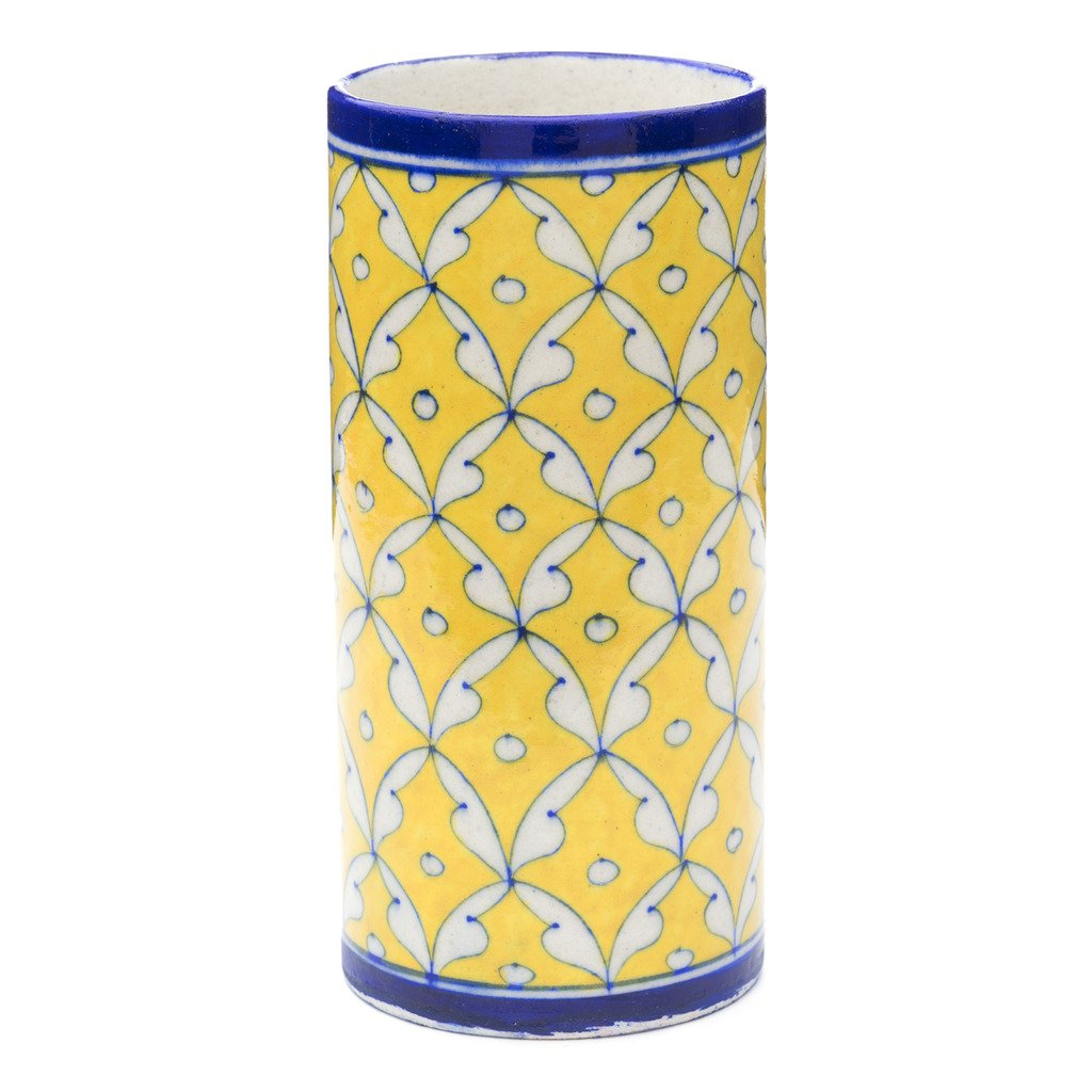 Global Crafts - Blue Pottery Vase - Yellow & Blue - Matr Boomie (Pottery)